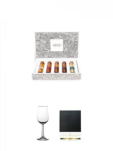 Tastillery Whisky Tasting Probierset Whisky Weltreise in Geschenkbox 5 x 50ml + Glasgeschenkset
