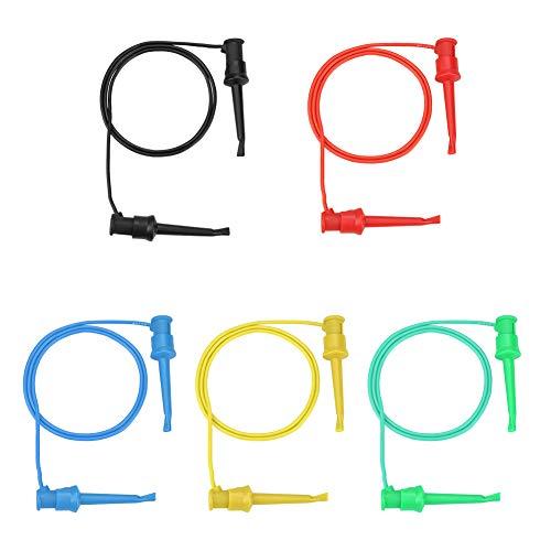 Multimeter-Testkabelclip-Haken, 5 Stück Bunter Silikonkabel-Testclip-Haken Hochpräziser elektrischer Test Dualer SMD-IC-Hakenclip