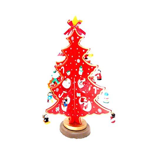 Addobbi Natalizi, Creativa Miniatura Albero di Natale in Legno Desktop Mini Albero di Natale per la Decorazione Domestica Rosso