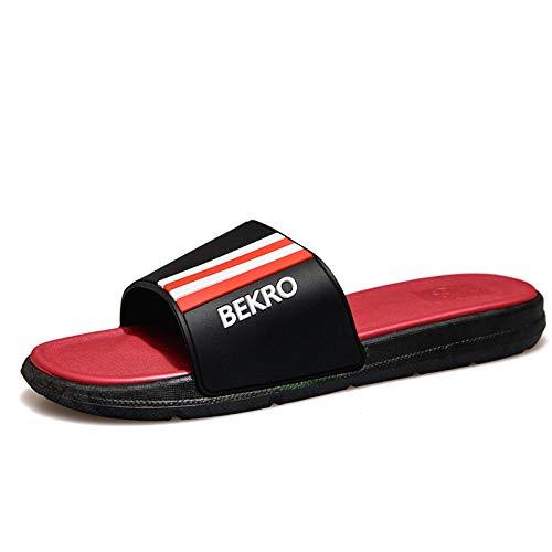 B/H Sandalias suaves con tirantes, sandalias de verano a rayas modernas, informales de suela gruesa, cómodas pantuflas rojas_42-43, zapatillas de playa antideslizantes