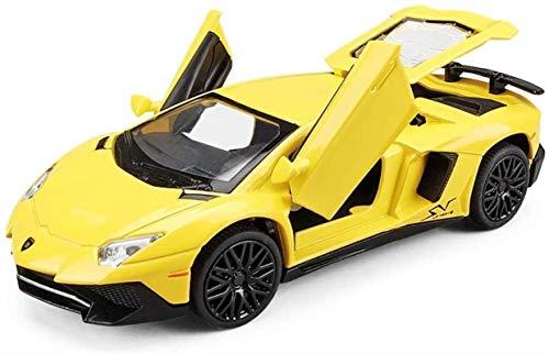 LKOER 1,32 Aleación de fundición de la aleación Modelo Modelo de simulación de automóvil Modelo de Juguete Estático (Color, Blanco), Amarillo (Color: Negro, Tamaño: Un tamaño) jinyang