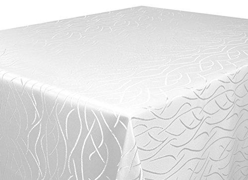 Tischdecke weiß 130 x 160 cm eckig in glanzvoller Streifenoptik, eckig - Größe, Farbe & Form wählbar (Rund Eckig Oval)