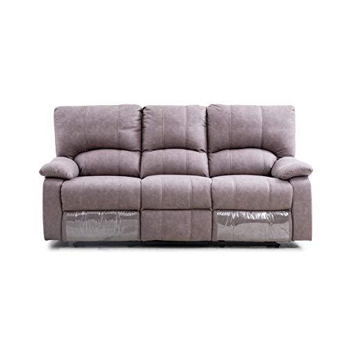 Sofá 3 plazas con 2 Asientos reclinables, función Relax Manual Modelo Dafne tapizado en Tela Color Gris