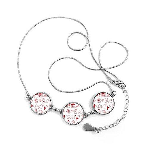 Valentijnsdag rode beer wijn liefde vogel hart brood chocolade ballon aardbei bloem envelop cupcake ring liefde illustratie patroon ronde vorm hanger ketting sieraden met ketting decoratie