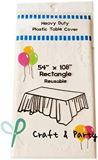 Evershine (6-Pack Heavy Duty Plastic Table Covers Tablecloth (Reusable) (Rectangle 54