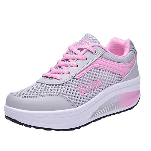 YWLINK Zapatillas De Deporte Transpirables De Malla De Moda para Mujer Zapatos Ocasionales Zapatillas Estudiantes Fondo Grueso Fiesta De CumpleañOs Corriendo Ciclismo Antideslizante(Rosado,37EU)