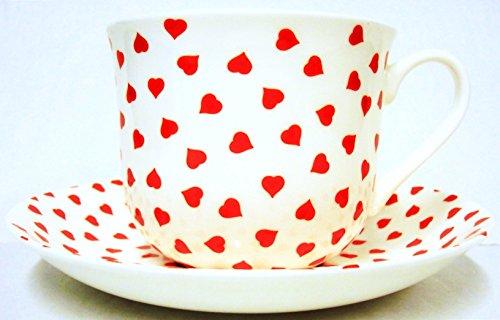 Love Hearts Tasse et soucoupe pour petit déjeuner en porcelaine fine Motif cœurs Rouge Grande tasse et soucoupe décorée à la main au Royaume-Uni Livraison gratuite au Royaume-Uni