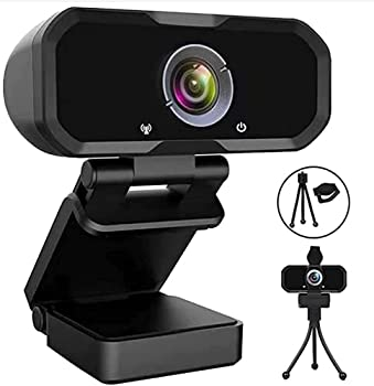 Webcam 1080p HD Computer Camera - Microphone Laptop USB PC Webcam with Privacy Shutter and Tripod Stand 110 Degree Live Streaming Widescreen Recording Pro Video Web Camera for Calling Conferencing