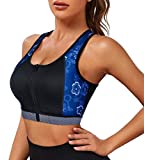 CtriLady High Impact Workout Sports Support Bra Full Cup Top Vest with Front-Zipper Wirefree for Women Fitness (style1 Black Sport Bra, 2XL (fits 40C 40D 42B 42C))