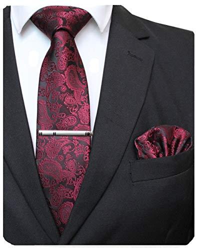 JEMYGINS Dunkelrot krawatte Paisley Seide Herren Krawatten und Einstecktuch mit krawattenklammer Sets (6)