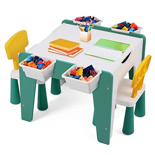 Sunix Mesa Multifuncional para niños con 2 sillas, Mesa de Actividades de Madera para niños y Mesa de Bloques de construcción con 4 Espacios de Almacenamiento para Aprender, Dibujar, Jugar y Comer