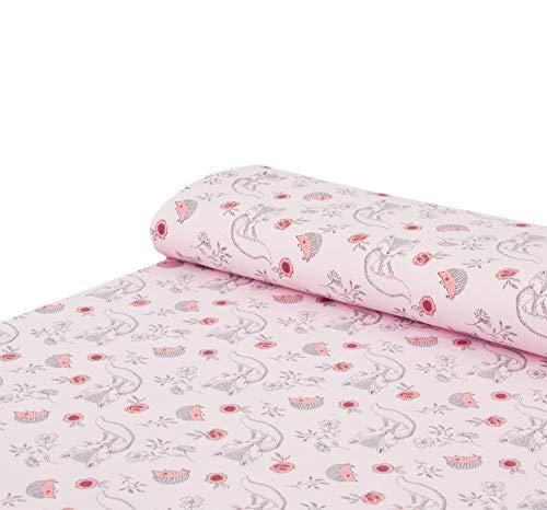 Nadeltraum Baumwoll - Jersey Stoff Kleiner Fuchs Igel rosa meliert - Meterware ab 25 cm x 150 cm - Stoff zum Nähen