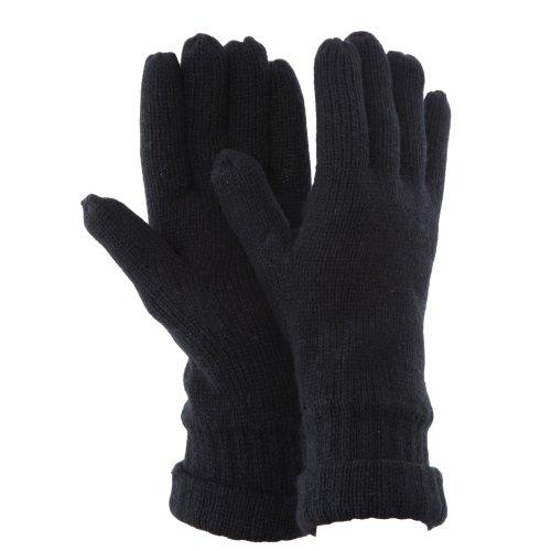 Floso - Gants tricotés thermiques Thinsulate (3M 40g) - Homme (Taille unique pour tous) (Noir)
