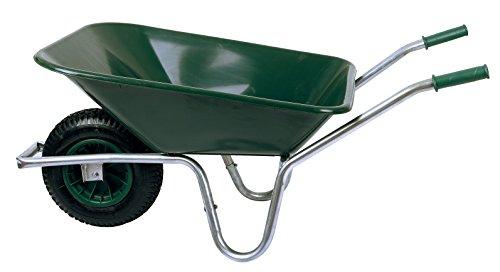 Schubkarre 85 Liter bis Belastbarkeit 250 kg, PVC, grün (Gartenkarre Bauschubkarre Baukarre Gartenschubkarre für Baustelle, Stall, Garten, Laub, Bauschutt)