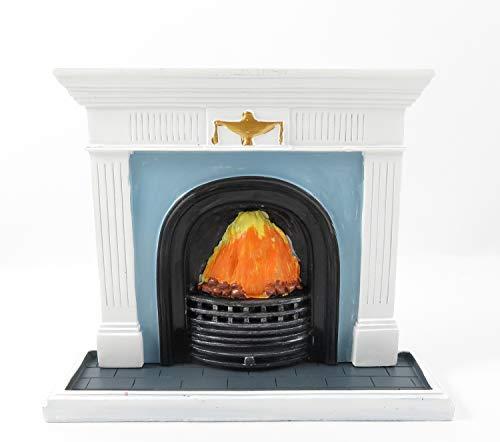 Melody Jane Puppenhaus Weiß Georgischer Kamin mit Flammen Feuer 1:12 Kunstharz Möbel