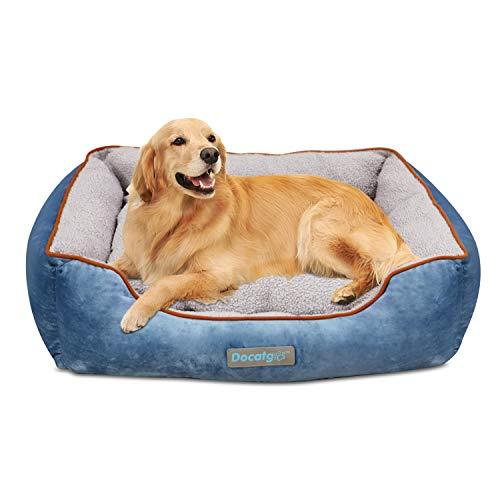 Docatgo hundebett, 80 * 60 * 26 cm Hundekorb mit Wendekissen, Sanft, federnd, waschbar (Verdickung)