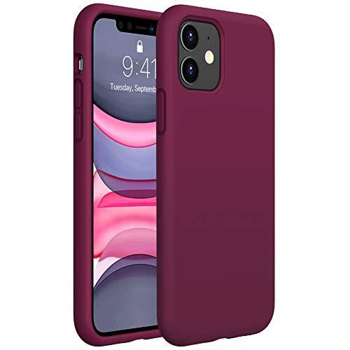 """Miracase Flüssig Silikon Hülle Kompatibel mit iPhone 11 (6,1""""), Liquid Silicone Case, Kratzfeste Handyhülle mit Rundumschutz, Weinrot"""