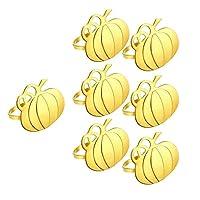 Tamkyo 6ピースパンプキンナプキンリングナプキンホルダー、ハロウィーン、感謝祭、パーティー、結婚式、家族の集まり用、ゴールド