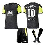 DHRBK Uniforme de fútbol para niños, Hombres, 10 Hazard Home y Away Kits de Camisetas de fútbol Camiseta de Aficionados Camiseta para niños Pantalones Cortos Equipo del Club con calcetín de fútbol