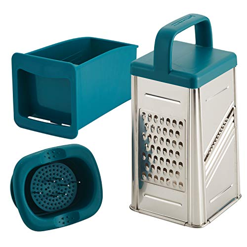 Rachael Ray Tools and Gadgets Stainless Steel Box Grater for Vegetables, Chocolate, Hard Cheeses, and more, Teal Blue