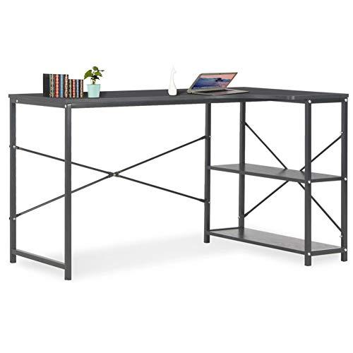 GOTOTOP - Mesa de ordenador con 2 estantes, mesa de escritorio, de madera y metal, estilo industrial, estación de trabajo para dormitorio, salón, oficina, negro, 120 x 72 x 70 cm