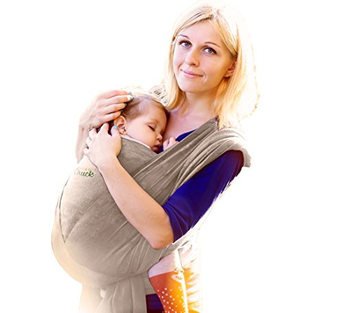 Baby Wrap Carrier - Ergo Baby Carrier by SnugglyChuck - Baby Sling, Nursing Cover and Baby Slings and Wraps for Infants and Newborn - Soft Ergonomic Stretchy Perfect Baby Shower Gifts (Grey)