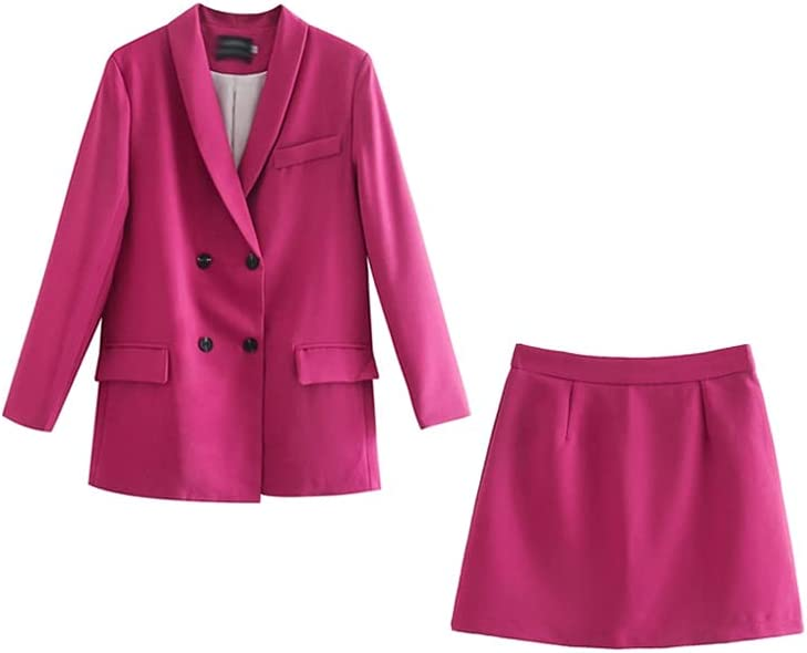 JJWC Womens Blazer Two Piece Suit Set Double Breasted Jacket Blazer Spring Ladies Formal Suit (Color : B, Size : M Code)
