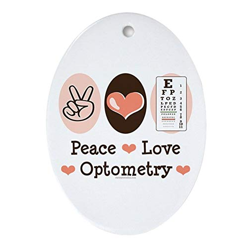 Yilooom Peace Love Optometry Eye Chart Oval Ornament Oval Holiday Christmas Ornament Hanging Christmas Decoration Gift Ceramic Ornament Xmas Special Keepsake Porcelain Art Display - 3' In Diameter