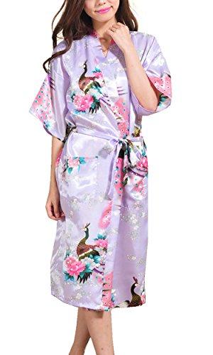 Avidlove - Kimono de satén para mujer, diseño de pavo real y flores Estilo1--morado claro. XXL