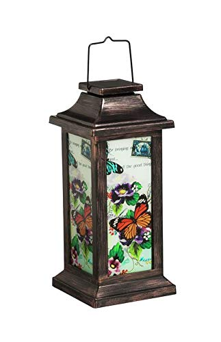 Evergreen Garden Fluttering Garden Friends Solar Lantern, Butterfly Outdoor Décor for Your Lawn and Garden