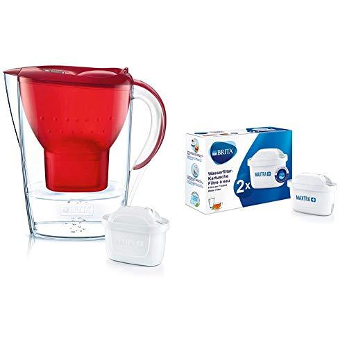 Brita Wasserfilter Marella, inkl. 1 Maxtra+ Filterkartusche rot & Wasserfilter-Kartusche MAXTRA+ 2er Pack – Kartuschen für alle BRITA Wasserfilter zur Reduzierung von Kalk, Chlor