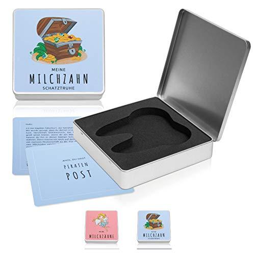 nunubri® Milchzahndose - 2 Versionen (Pirat & Zahnfee) - Gepolsterte Zahndose mit festem Verschluss für Kinder - inkl. Piratenpost