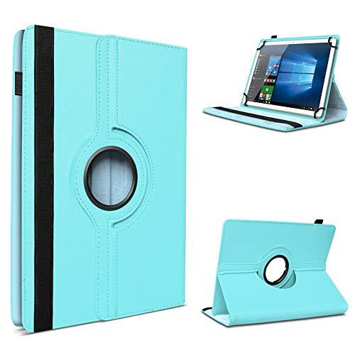 UC-Express Tablet Schutzhülle für 10-10.1 Zoll Tasche aus hochwertigem Kunstleder Hülle Standfunktion 360° Drehbar Universal Case Cover, Tablet Modell für:Fujitsu Stylistic M532, Farben:Hellblau
