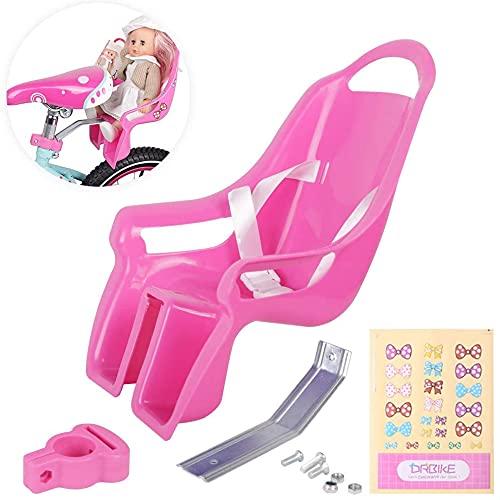 HILAND DRBIKE - Asiento infantil para muñeca con pegatinas, para niñas, accesorio para bicicleta infantil, color lila y rosa