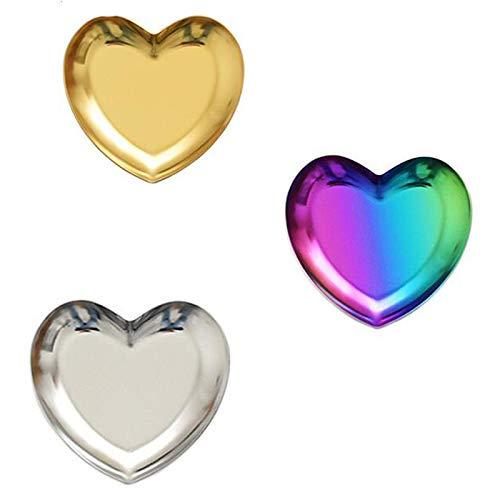 Basage Juego de 3 piezas con forma de corazón para joyas, bandeja de metal, bandeja de almacenamiento, decoración del hogar, pendientes, horquilla, plato de joyería