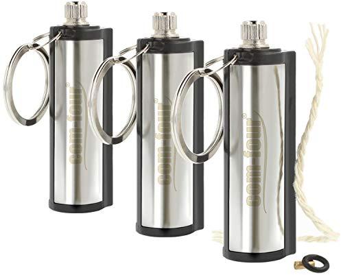 Com-Four® Accendino cilindrico multiuso da campeggio e da esterni, con pietra focaia, colore: argento 03 Stück