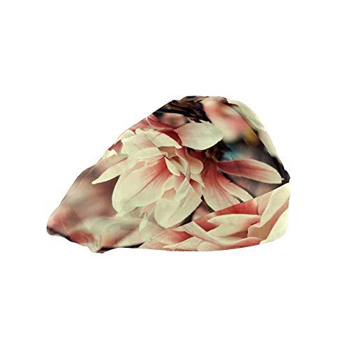 ASIGA Cappellino da lavoro da donna con fascia in cotone elastico regolabile, con rami di fiori di...