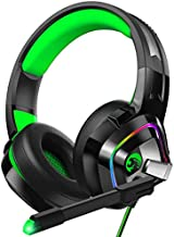 ZIUMIER Z66 Gaming Headset for PS4, PS5, Xbox One, PC, Wired Over Ear Headphone with Noise Isolation Microphone, LED RGB Light,Surround Sound for Laptop Computer, Green