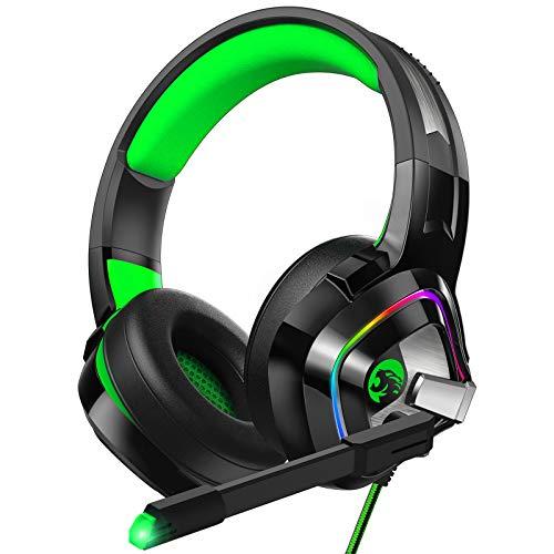 ZIUMIER Z66 Gaming Headset Grün für PS4 PS5 PC Xbox One Laptop, Gamer Kopfhörer mit Noise Cancelling Mikrofon, Buntes RGB Licht, Bass 3.5mm Surround Sound 50MM Treiber