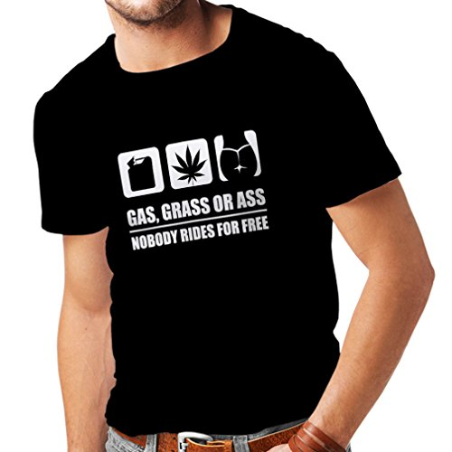 lepni.me Camisetas Hombre Gasolina, Hierba o asno Nadie viaja Gratis (Medium Negro Blanco)