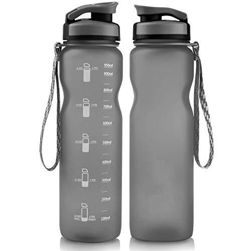 Botella de agua 1 L a prueba de fugas 1000 ml para deportes bicicleta gimnasio gris viaje taza ejercicio senderismo simple jarra fitness 1 pieza