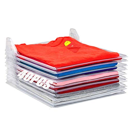 Nifogo Organizador de Camisetas, Organizador de Armario,Camiseta Carpeta Sistema Antiarruga,tamaño Normal Blanco (40PCS)