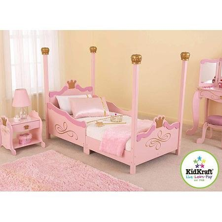For Girls Princess Toddler Pink Bed. A Cute & Charming Addition to Children's Bedroom Furniture. Bestseller! Includes Decorative Rails for Kids Safety, Headboard & Footboard with Gold Crown Touch. Just Add Bedding & Pillow for a Good Night's Sleep.