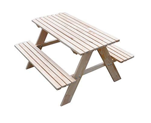AZZAP Kindersitzgarnitur Kinder sitzgruppe Tisch Bank Kindermöbel Garten Holz Picknicktisch Natur