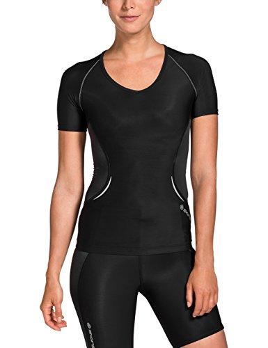 Skins A400 Haut de Compression à Manches Courtes pour Femme S Noir/argenté.