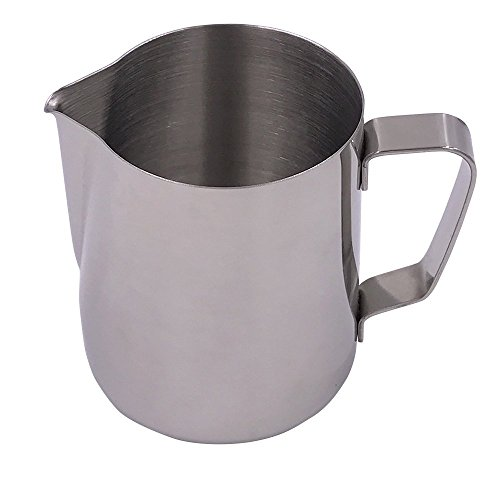 WINGKIN 12oz Stainless Steel Milk Frother Pitcher for Espresso Coffee Machine, Cappuccino Latte Making