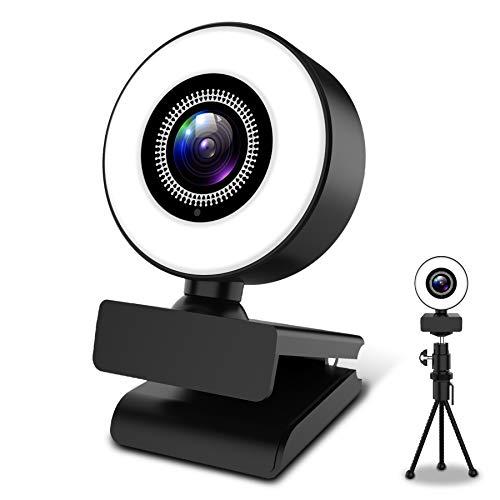 2K Webcam mit Mikrofon und Stativ, HD Webcam mit Ringlicht USB-betrieben, Webcam für PC Live-Streaming, Videoanruf, Konferenz, Online-Unterricht, Spiel, Kompatibel mit Windows, Mac und Android