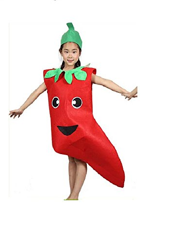 Kids Fruits Vegetables and Nature Costumes Suits Outfits Fancy Dress Party Boys and Girls (Pepper)