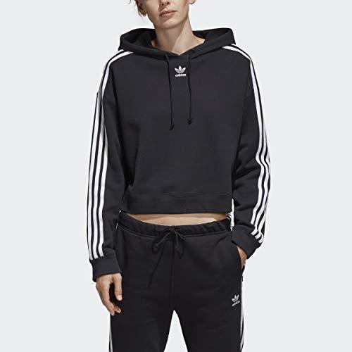 adidas Originals Damen Cropped Hoodie Kapuzenpulli, schwarz, Large