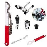 XIAQIU 4 Piezas Herramienta de Extracción de Cassette de Bicicleta, Llave de Cadena para Bicicleta, Látigo de Cadena, Extractor de Bielas, Extractor de Ejes de Pedalier, Cortador de Cadena